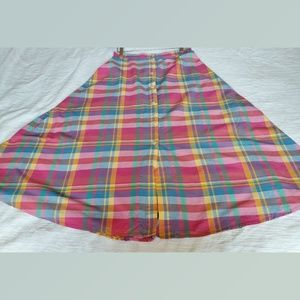 Lands End Cotton Plaid Circle Tail Skirt Size 10